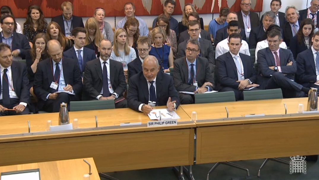 Disgraced business leader Philip Green gives evidence to the Business, Innovation and Skills Committee about the collapse of BHS. Photo: PA Wire/PA images.