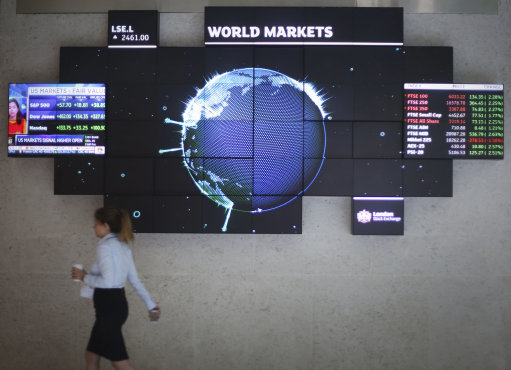 A stock ticker screen at the London Stock Exchange in the City of London. Picture by Philip Toscano PA Archive/PA Images