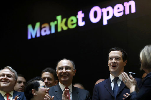 Former chancellor George Osborne attends the inauguration of the ceremonial market opening in London. Picture by Stefan Wermuth PA Wire/PA Images