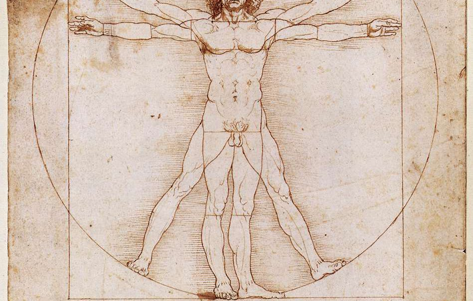 The Vitruvian Man, Da Vinci. Picture: Wikimedia Commons. Public Domain
